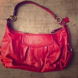 COACH Cherry & Gold Small Hobo Bag